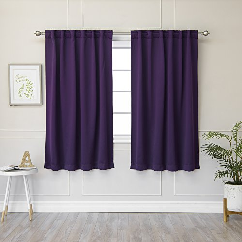 "Best Home Fashion Thermal Insulated Blackout Curtains - Back Tab/Rod Pocket - Purple- 52"" W x 63"" L – Tie Backs Included (Set of 2 Panels)"