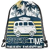 wallxxj Kordelzug Taschen Summer Adventure Surf Cars Handgezeichnete Kordelzugtasche Reisetaschen...