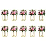 NUPTIO 10 Pcs Gold Vase Metal Column Stand Road Lead Geometric Centerpiece Vase for Tables, 15.75in Floor Vases Decorative Tall Flower Rack for Home Event Party Wedding Decorations for Reception