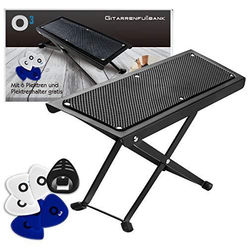 O³ Fußbank Gitarre // für Erwachsene und Kinder // Gitarrenfußbank inklusive 6 Plektren und Plektrenhalter // Höhenverstellbar auf 5 Stufen // Guitar foot rest