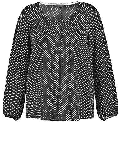 Samoon Damen Bluse mit Tupfen-Print leger, leicht ausgestellt Black Gemustert 52