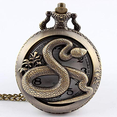 ZFHGT Engraved Pocket Watch and Chain, Bronze Snake Hollow Quartz Pocket Watch Pendant Womens Men Gifts