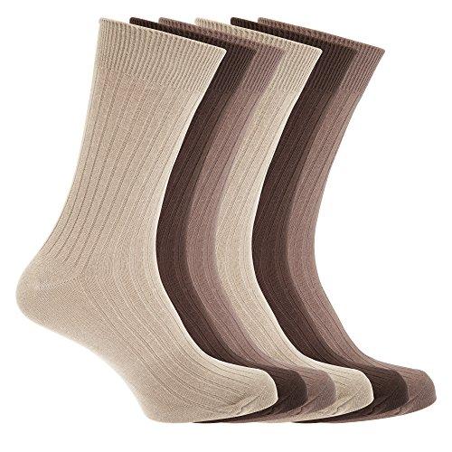 Floso Herren Baumwoll-Socken, 6 Paar (39-45 EU) (Dunkelbraun/Hellbraun/Beige)