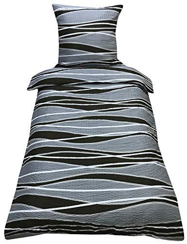 Style Heim Seersucker Bettwäsche Deluxe 2 Teilig aus 100% Microfaser mit Reißverschluss Bettwäscheset 1 Bettbezug und 1 Kissenbezug deutsche Standardgröße, Größe 135x200 cm, Farbe Muster