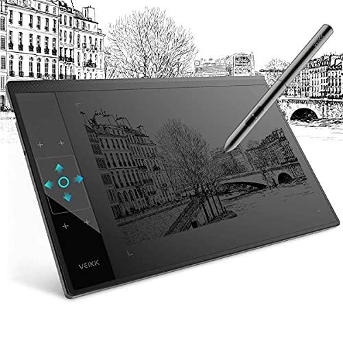 Tableta Gráfica Digital para Dibujar VEIKK A30 Tableta Digitalizadora 10 x 6 Pulgadas 4 Teclas Táctiles 1 Panel Táctil Lápiz óptico sin Batería Negro