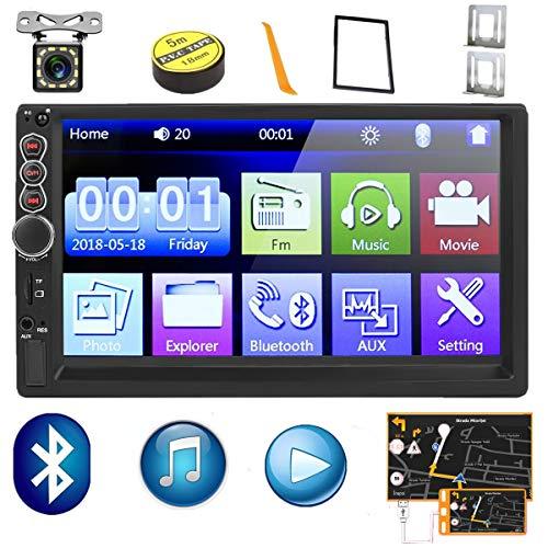 Autoradio 2 Din,Touchscreen HD da 7 Pollici Lettore MP5 Auto Bluetooth USB/SD/AUX Ingresso,FM Radio,Collegamento Mirror del Telefono,Car Radio con Telecamera Posteriore