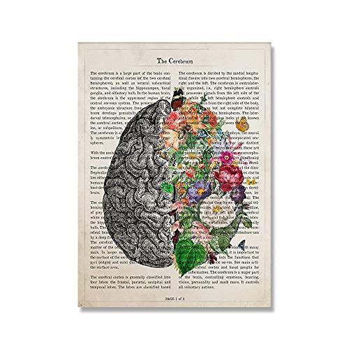 APAZSH Cerebro Art Flower Anatomy Poster Prints PsicologíA Doctor Gift Cuadros MéDicas De Pared Vintage Canvas Pintura Clinic Home Decor 40x50cm Sin Marco