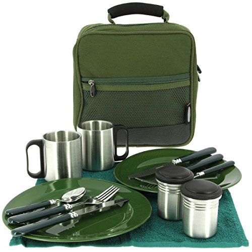 G8DS 13-teiliges Deluxe Campinggeschirr, Tassen und Besteck für 2 Personen Kochgeschirr Camping-Besteck-Geschirr-Set Survival Outdoor