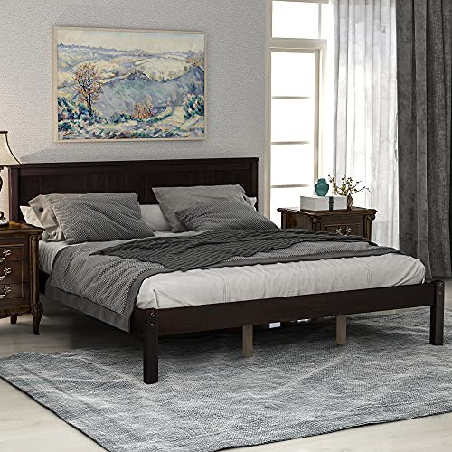 Queen Size Bed Frame Platform Bed Frame with Headboard,Heavy Duty Bed Frame with Wood Slat Support/Headboard/No Box Spring Needed/Easy Assembly,Espresso Queen Bed Frame