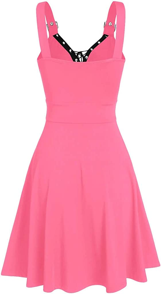 Womens Dress,Women Plus Size Cool Solid Bandage Irregular Hem Sleeveless Camisole Mini Dress