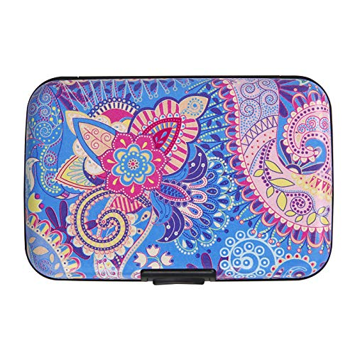 HDE RFID Credit Card Holder Front Pocket Hard Shell RFID Wallets for Women (Blue Paisley)
