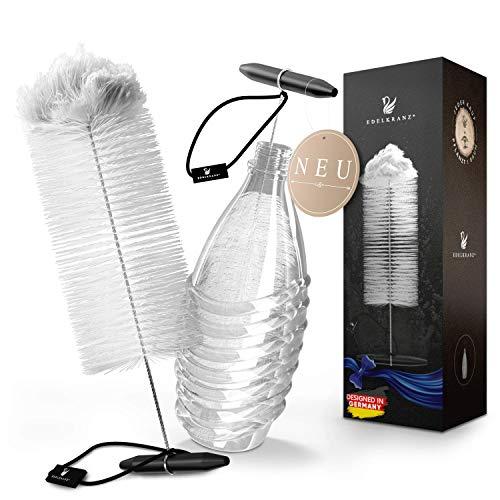 EDELKRANZ® Flaschenbürste für SodaStream Crystal Glasflaschen - Soda Stream Flaschenreiniger mit Wollkopf – Reinigungs-Bürste für Glaskaraffe 0.6 Liter [RASCHE Reinigung] Flaschen-Bürste lang & dünn