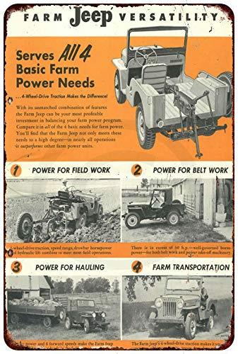 Metallschild, Motiv: Jeep Hurrican Engine Willys Overland, Vintage-Look, Reproduktion, 20,3 x 30,5 cm