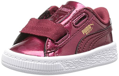 PUMA Girls' Basket Heart Glam Kids Sneaker, Tibetan Red, 13.5 M US Little