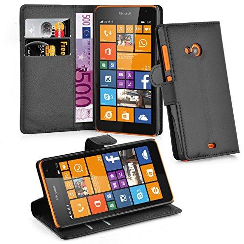 Cadorabo Hülle für Nokia Lumia 535 - Hülle in Phantom SCHWARZ – Handyhülle mit Kartenfach & Standfunktion - Case Cover Schutzhülle Etui Tasche Book Klapp Style