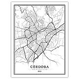 YUAN Leinwand Bild,Spanien Cordoba Stadtkarte Schwarz Weiß