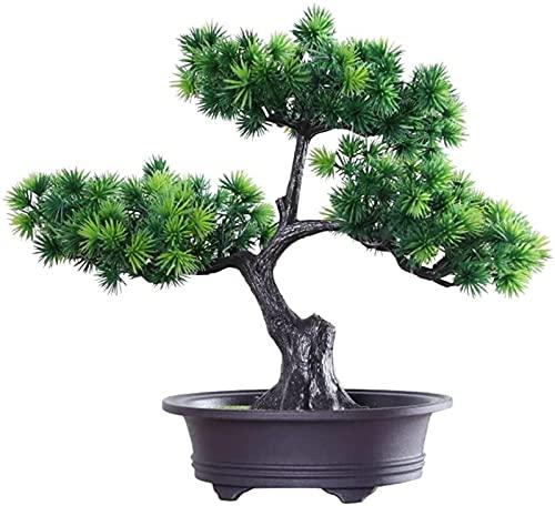Bonsai de árbol artificial, simulación de planta de pino de bienvenida, planta en maceta, utilizada para plantación verde en interiores, maceta pequeña, paisaje, decoración de ramas falsas, plantas ar