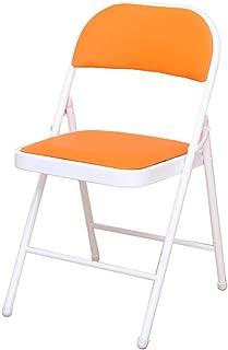 Silla plegable, sillas de banquete, plegable silla de camping, sillas de cocina, silla de la sala de estar, portátil, plegable de almacenamiento, soporte de cargas de mejora, naranja, 2 estilos dispon