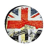 レトロなヴィンテージイギリス国旗タイヤカバーホイールタイヤカバーポータブルユニバーサルホイールカバー防水タイヤカバートレーラーRV SUVトラック用トレーラーアクセサリー(14-17インチ)に適合
