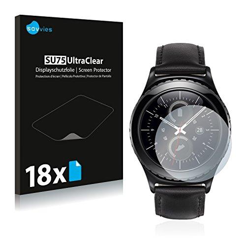 Savvies 18x Schutzfolie kompatibel mit Samsung Gear S2 Classic Bildschirmschutz-Folie Ultra-transparent