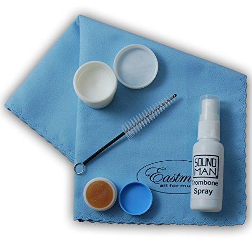 Kit de mantenimiento para trombón (1 botella de spray para trombón, 1 paño de microfibra, 1 grasa para varas, 1 grasa para la vara de afinación, 1 cepillo de boquilla, 1 bolsa de transporte)