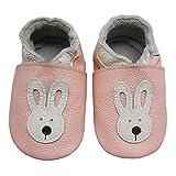 Bemesu Baby Krabbelschuhe Lauflernschuhe Lederpuschen Kinder Hausschuhe aus weichem Leder für Mädchen und Jungen Pink Hase (M, EU 20-21)