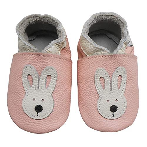 Bemesu Baby Krabbelschuhe Lauflernschuhe Lederpuschen Kinder Hausschuhe aus weichem Leder für Mädchen und Jungen Pink Hase (M, EU 20 - 21)