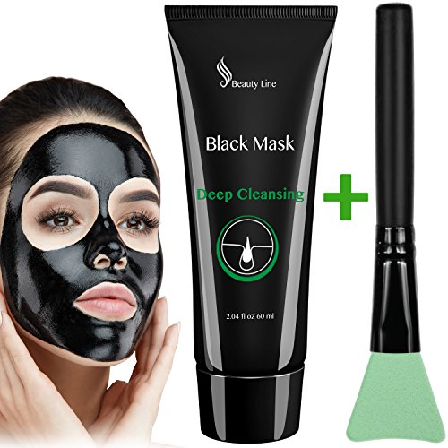 Black Face Mask - Charcoal Face Mask - Peel off Mask - Activated Facial Mud Mask - Blackhead Mask - Face Mask Brush - Deep Pore Cleansing Mask - Purifying Peel-off Mask