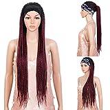 """Headband Braided Wig 37"""" Long Braid Wig Machine Made Glueless Headband Wig for Black Women (37 Inch, TT1B/118)"""