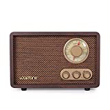 LoopTone FM AM Radio Retro Wood Radio with Bluetooth Play Mp3 and Antenna