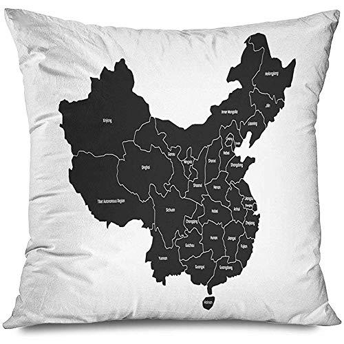 Mackinto Fodera per Cuscino Quadrato Decorativo 18x18 Gray Asia Mappa regionale Province amministrative Cina Gray Education Administration Asian Pechino