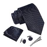 Massi Morino ® Cravatta uomo + Gemelli + Fazzoletto (Set cravatta uomo) regalo uomo con confezione regalo (Nero puntini)
