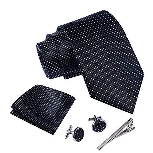 Massi Morino ® Herren Krawatte Set mit umfangreicher Geschenkbox Herren Krawatte Set schwarz schwarze black Trauer Beerdigung trauerkleidung blacktie punktemuster gepunktet punkte