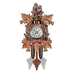QZY Cuckoo Wall Clock Bird Alarm Clock Wood Hanging Clock Time for Home Restaurant Unicorn Decoration Art Vintage Swing Living Room,C