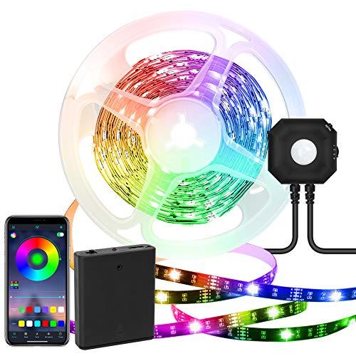 Tira LED temporizador apagado automático 5050 Sincronización Música Cambia Color USB y Control APP, Luces Bias RGB para cama, escaleras, armario (1 Kits)