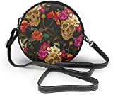 Bolso redondo mujer Skull and Poppies Flower Women Fashion Cute Zipper Circle Purses Crossbody Bags Sling Bag