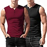 Babioboa Mens 2 Pack Gym Tank Tops Henley Workout Muscle Tee V Neck Sleeveless Bodybuilding T-Shirts