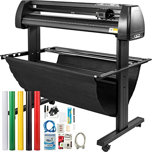 VEVOR Vinyl Cutter 34Inch Bundle, Vinyl Cutter Machine Manual Vinyl Printer LCD Display Plotter Cutter Sign Cutting with Signmaster Software for Design and Cut,with Supplies, Tools PC ONLY