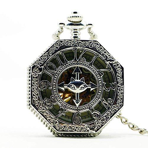 HYY-YY. Steampunk Taschen-Uhr-Uhr-Frauen Wickeln Oben mechanische Handwind glatt Silber Anhänger weißes Zifferblatt einfache stilvolle