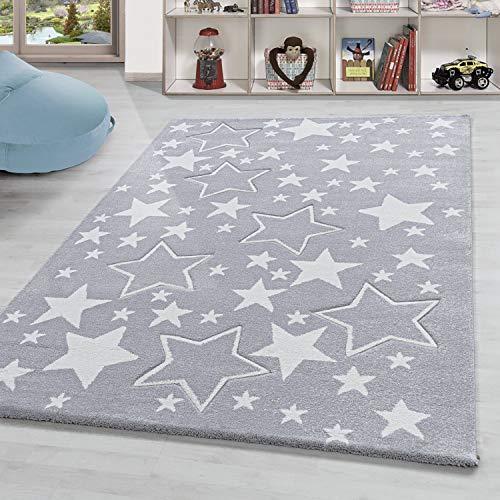 Kinderteppich Sterne Motiv Kurzflor Kinderzimmer Babyzimmerteppich Grau Weiss, Grösse:120x170 cm, Farbe:Silber
