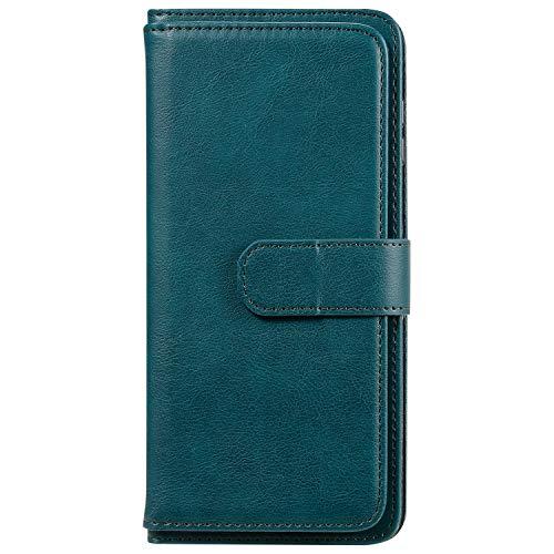 Lomogo Xiaomi Redmi Note 9 Pro Hülle Leder, Schutzhülle Brieftasche mit Kartenfach Klappbar Magnetisch Stoßfest Handyhülle Case für Xiaomi Redmi Note9 Pro Max - LOKTU150342 Grün