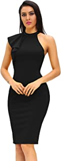 Women's Fashion Ruffle One Shoulder Sleeveless Midi Bodycon Cocktail Party Dress
