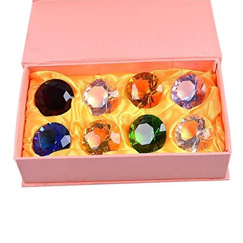 多色透明 水晶 ダイヤモンド 形 40mm ペーパーウェイト ガラス 文鎮 装飾品 誕生日 母の日 結婚記念日 プレゼント 妻 【ギフトボックス】 (八色)