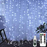 LiyuanQ 300 LED Window Curtain Fairy Lights USB Plug in Curtain String Lights 8 Modes Remote Control Twinkle Lights LED Silver String Lights for Indoor Wedding Party Garden Bedroom Decor (Cool White)