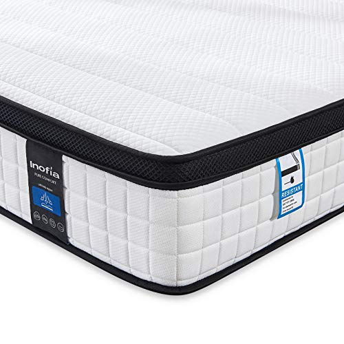 Inofia Small Double Memory Foam Sprung Mattress 10.6 Inch,4FT Spring Mattress with Innovative Wave Memory Foam and Soft Knitted Fabric,The Elegant Collection(120x190x27cm)