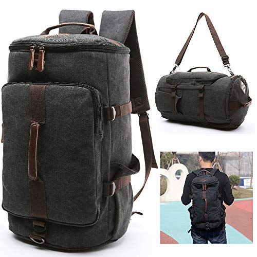 SPAHER 3 Ways Casual Daypack 17 Inches Laptop Backpack Unisex Large Canvas Travel Duffle Hiking Trekking Rucksack Business Daypack Holdall Weekend Overnight Outdoor Crossbody School Bag Teens Gift