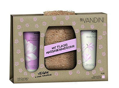 aldoVANDINI PURE Geschenkset, Duschgel & Lotion 200ml mit Magnolienduft, inklusive Flachs Massagegurt, für Frauen, vegan - 1er Pack - 1x1 Set