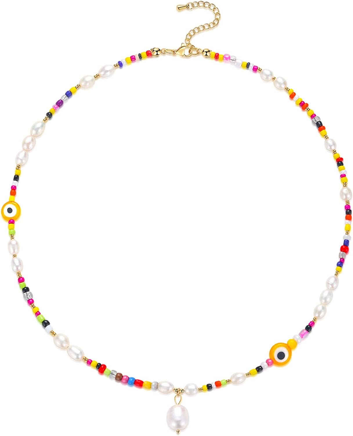 Colorful Boho Bead Pearl Necklace for Girls Women, Trendy Beaded Choker Necklace | Adjustable Summer Beach Necklace Jewelry Gifts for Teens Men