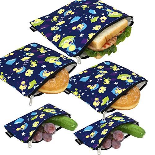 Wiederverwendbare Snack-Taschen, Sandwich-Taschen, zweilagig, umweltfreundlich, spülmaschinenfest, Lunch-Tasche, BPA-frei, PVC-frei, 5 Stück (Affe)