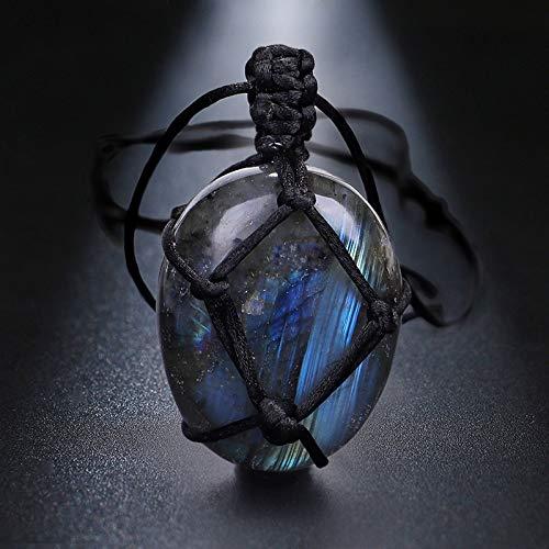 K-ONE Collar de labradorita Colgante de Piedra Natural, Collar Trenzado, Collar de macramé de Yoga, joyería de Piedras de luz de Luna de energía para Hombres y Mujeres